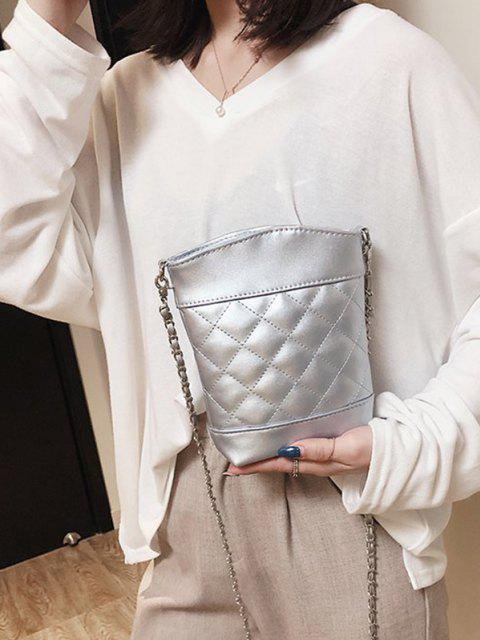 Lattice Quilted Topstitching Chain Crossbody Bag - فضة  Mobile