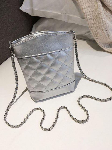 lady Lattice Quilted Topstitching Chain Crossbody Bag - SILVER  Mobile