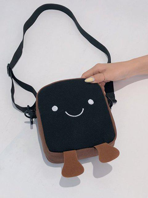 best Lovely Smiling Face Casual Crossbody Bag - BLACK  Mobile
