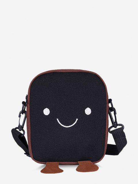 Sac à Bandoulière Décontracté Motif Adorable Visage Souriant - Noir  Mobile
