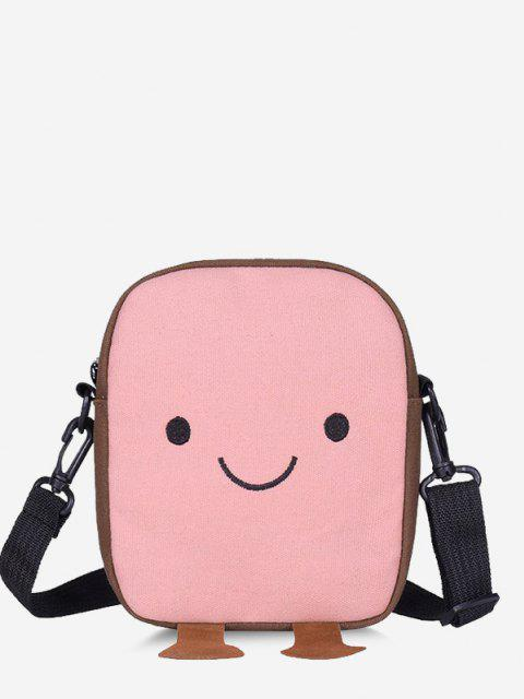 Lovely Smiling Face Casual Crossbody Bag - زهري  Mobile