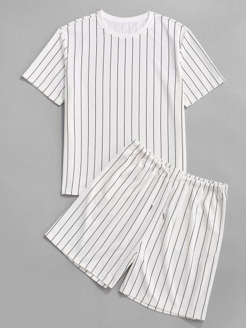 buy Stripe T-shirt And Shorts Two Piece Set - WHITE M Mobile