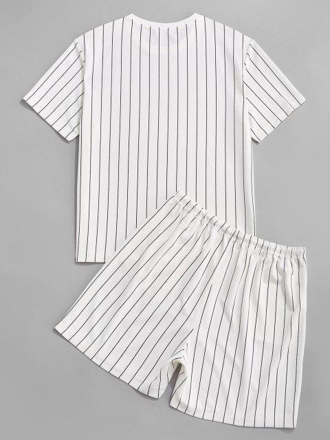 Ensemble de T-shirt Rayé et de Short Deux Pièces - Blanc L Mobile