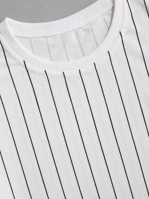 ストライプTシャツとショートツーピースセット - 白 XL Mobile