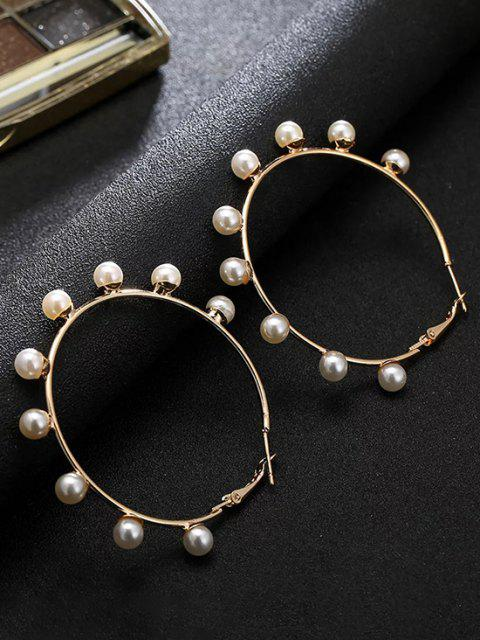 outfit Faux Pearl Embellished Large Hoop Earrings - GOLDEN  Mobile