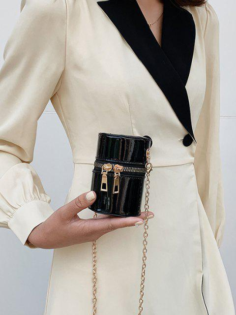 sale Faux Patent Leather Cylinder Micro Crossbody Bag - BLACK  Mobile