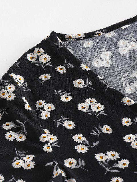 new ZAFUL Ditsy Floral Bowtie Crop Wrap Blouse - BLACK S Mobile