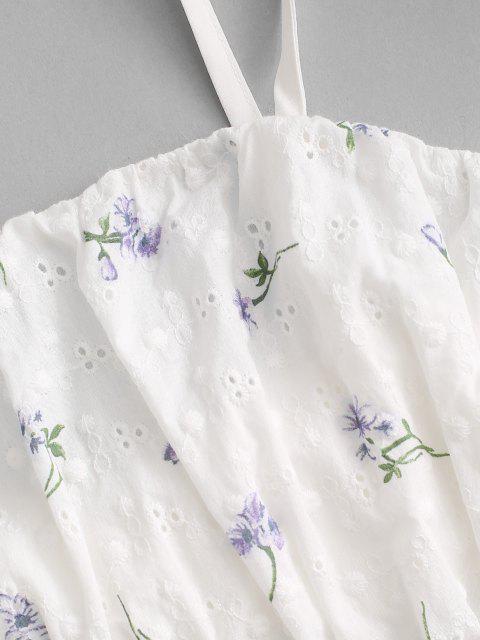 ZAFUL Gebundenes Blumen Broderie Anglaise Top und Kurzes Set - Weiß S Mobile