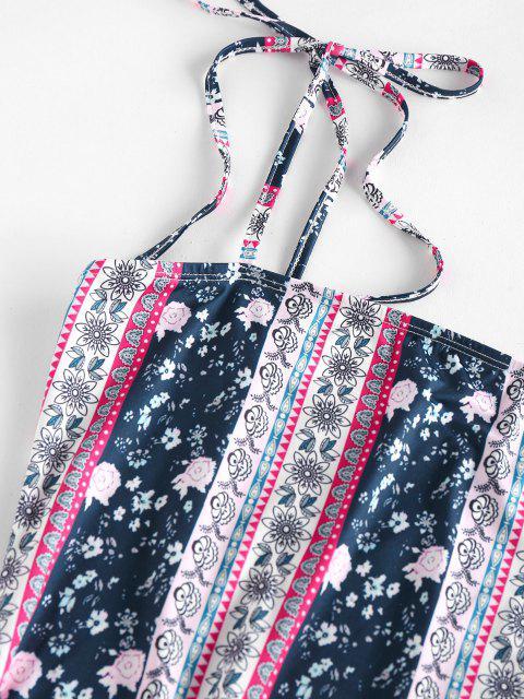 ZAFUL Robe à Bretelle Fleurie Ethnique à Epaule Nouée - Multi S Mobile