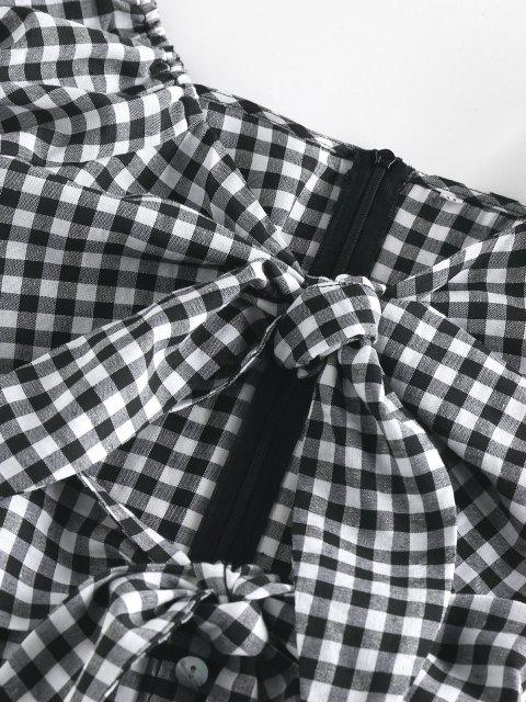 ZAFUL Gingham Gebundenes Puff Ärmel Ausschnitt Kleid - Schwarz M Mobile