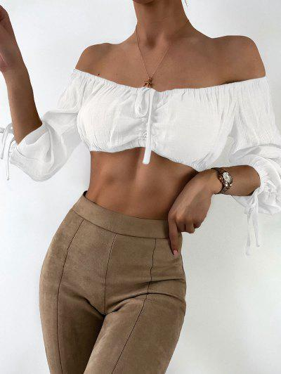 Cropped Cinched Off Shoulder Top - White