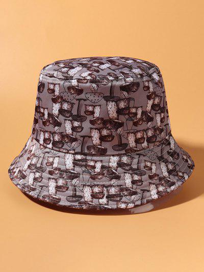 Alles über Pilz Druck Lässiger Bucket Hut - Rauchiges Grau