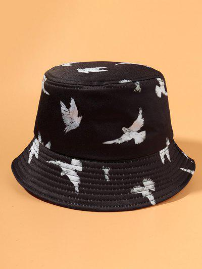 Casual Pigeon Print Outdoor Bucket Hat - Black