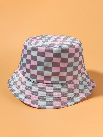 Gradient Checked Printed Bucket Hat - Multi-a