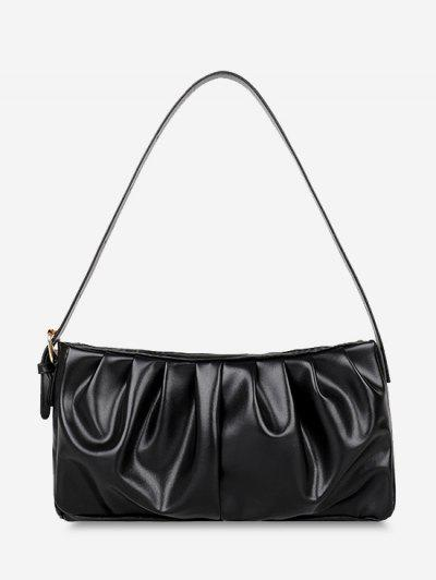 Minimalist Ruched Soft Shoulder Bag - Black