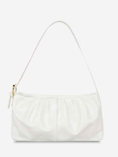 Minimalist Ruched Soft Shoulder Bag - White
