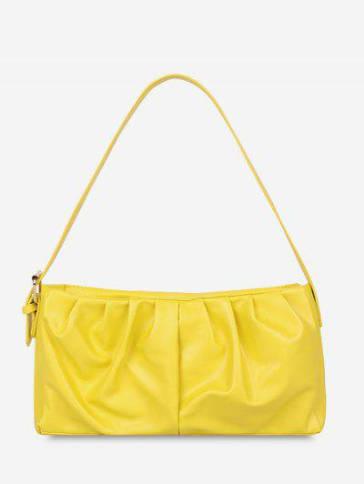 Minimalist Ruched Soft Shoulder Bag - Sun Yellow