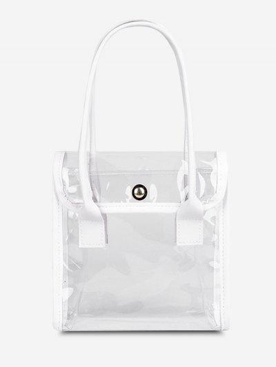 Transparent Binding Square Flap Tote Bag - Milk White