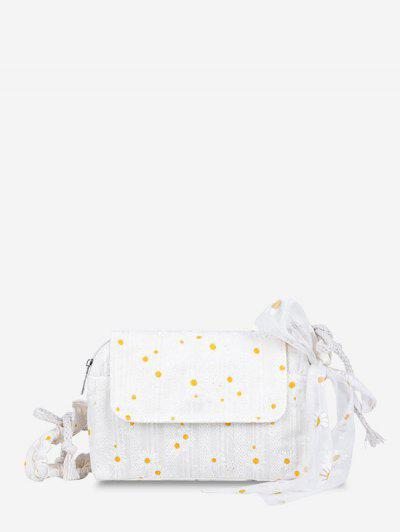 Daisy Embroidered Lace Cinched Strap Shoulder Bag - White