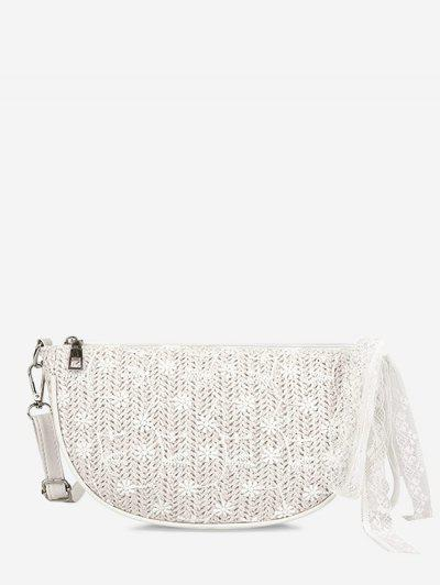 Floral Woven Lace Tied Crossbody Bag - Warm White