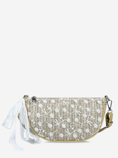 Floral Woven Lace Tied Crossbody Bag - Light Khaki