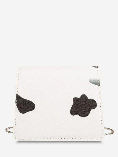 Cow Print Flap Chain Mini Crossbody Bag - Black