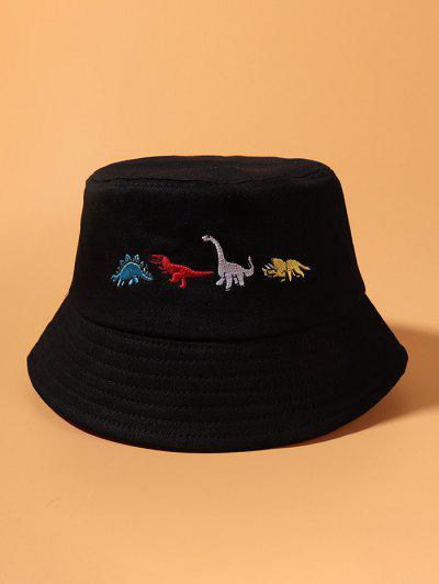 Embroidered Dinosaur Bucket Hat - Black