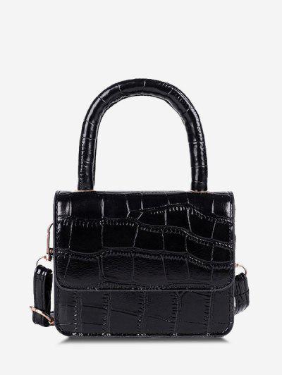 Embossed Dual Handle Flap Micro Crossbody Bag - Black