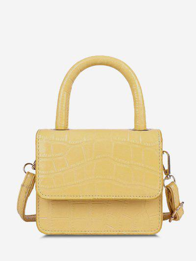 Embossed Dual Handle Flap Micro Crossbody Bag - Sun Yellow