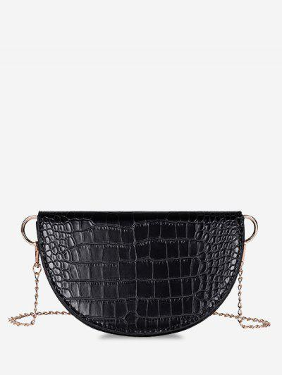 Semicircle Embossed Flap Chain Shoulder Bag - Black