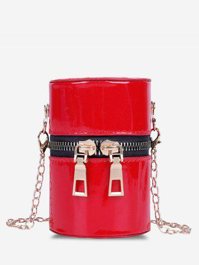 Faux Patent Leather Cylinder Micro Crossbody Bag - Red