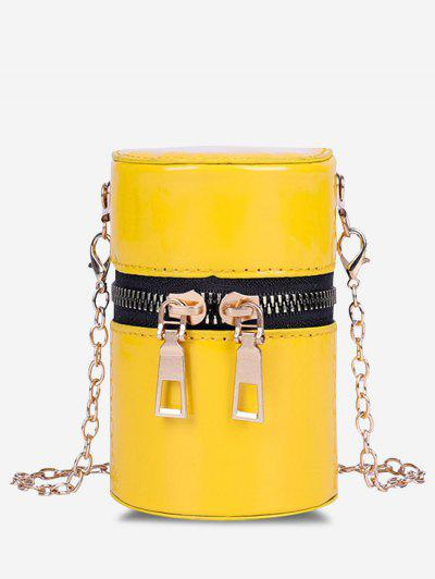Faux Patent Leather Cylinder Micro Crossbody Bag - Sun Yellow
