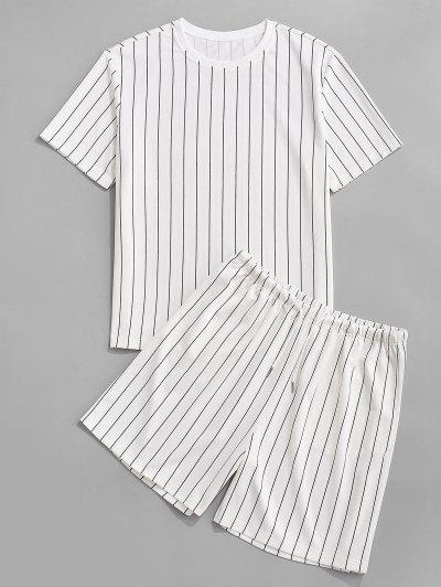 Ensemble De T-shirt Rayé Et De Short Deux Pièces - Blanc 2xl