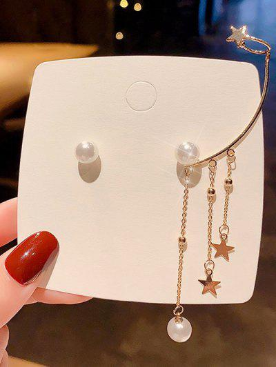Faux Pearl Star Charm Cuff Asymmetric Stud Earrings - Golden 1 Pair