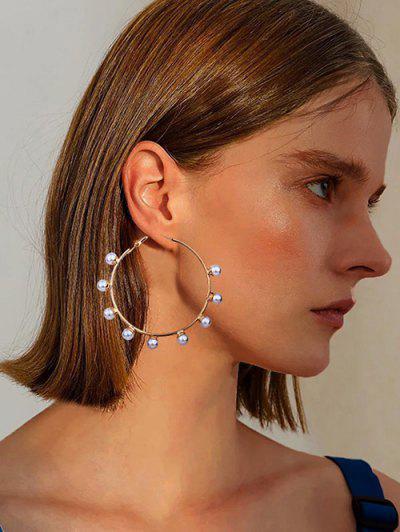Faux Pearl Embellished Large Hoop Earrings - Golden