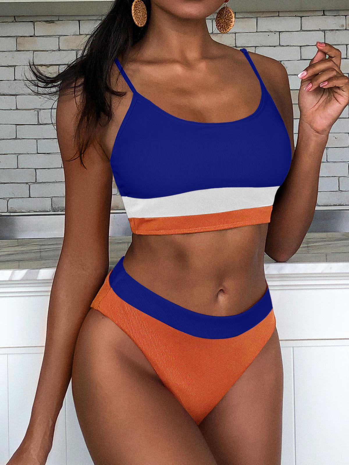 ZAFUL Ribbed Colorblock Cami Tankini Swimwear