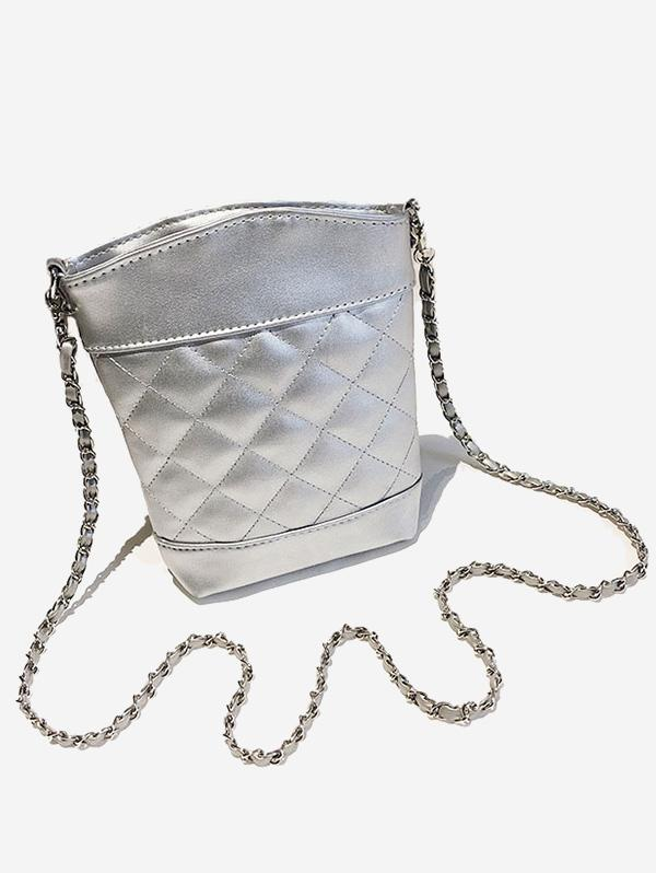 Lattice Quilted Topstitching Chain Crossbody Bag