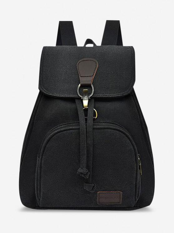 best Canvas Drawstring Large Capacity Casual Backpack - BLACK