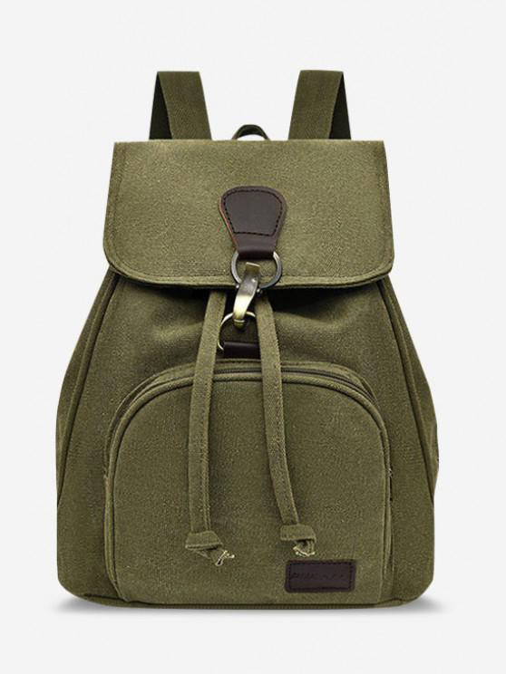 online Canvas Drawstring Large Capacity Casual Backpack - SALAD GREEN