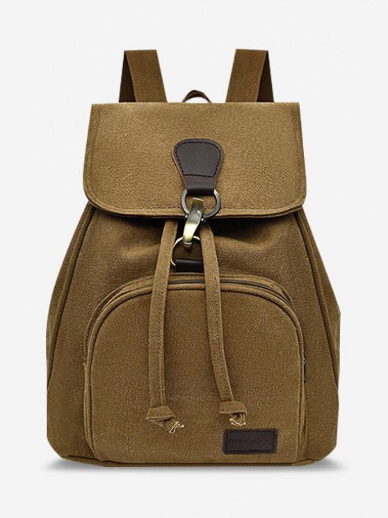 hot Canvas Drawstring Large Capacity Casual Backpack - BROWN