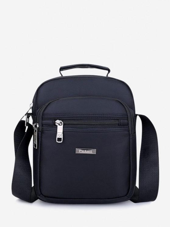 Letter Label Square Leisure Shoulder Bag - أسود