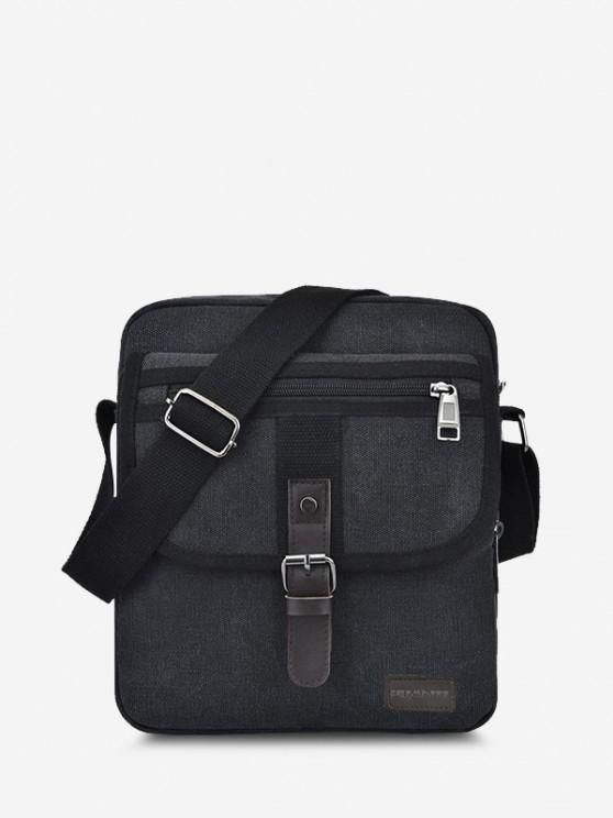 Wear-resistant Canvas Messenger Bag - أسود