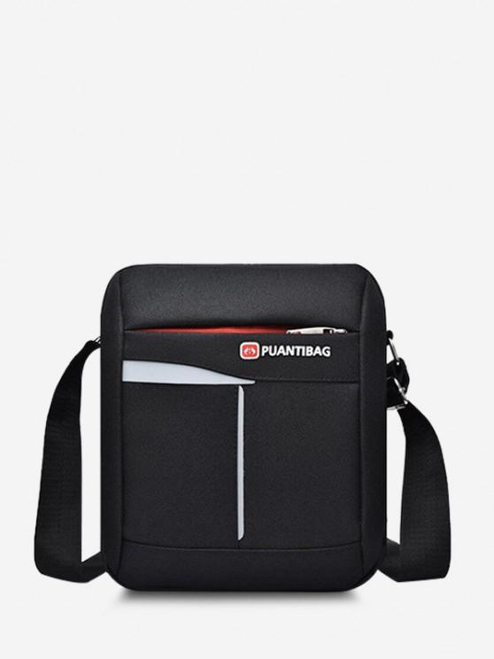 Letter Pattern Square Shoulder Bag - أسود