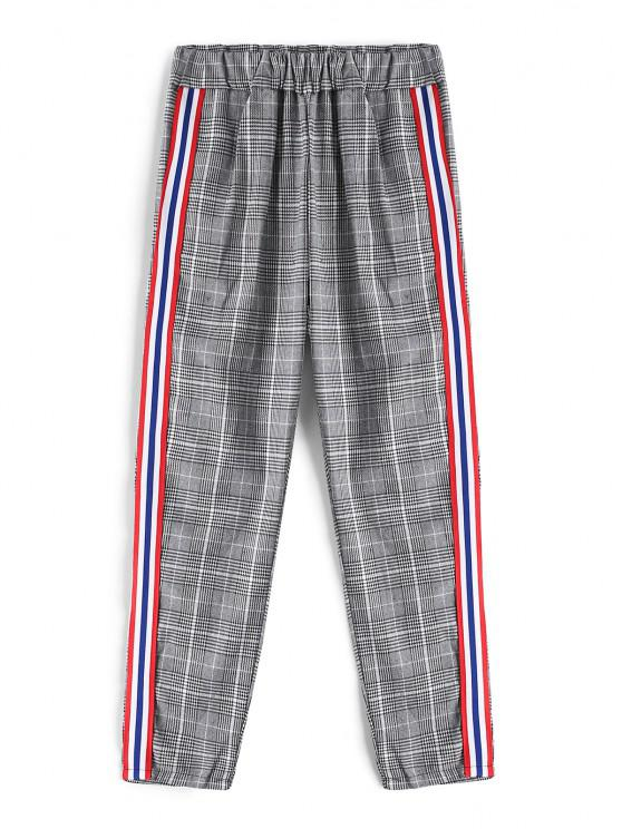 Glen Check Stripe Contrast Pants - متعددة-A M