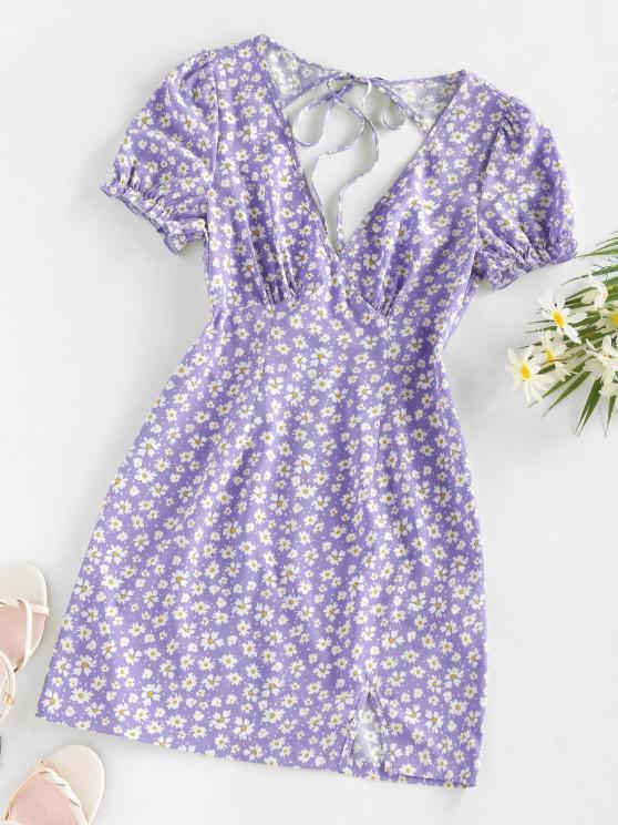 unique ZAFUL Daisy Floral Cutout Tie Slit Dress - LIGHT PURPLE S