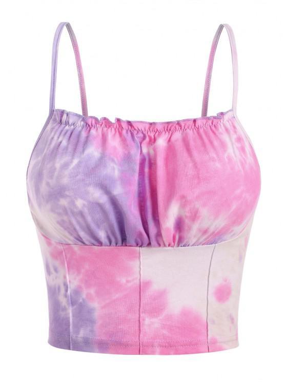 online Tie Dye Ruched Frilled Crop Cami Top - LIGHT PURPLE M