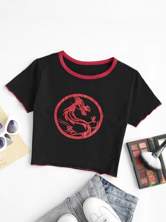 best Chinese Dragon Print Contrast Stitching Baby Tee - BLACK S