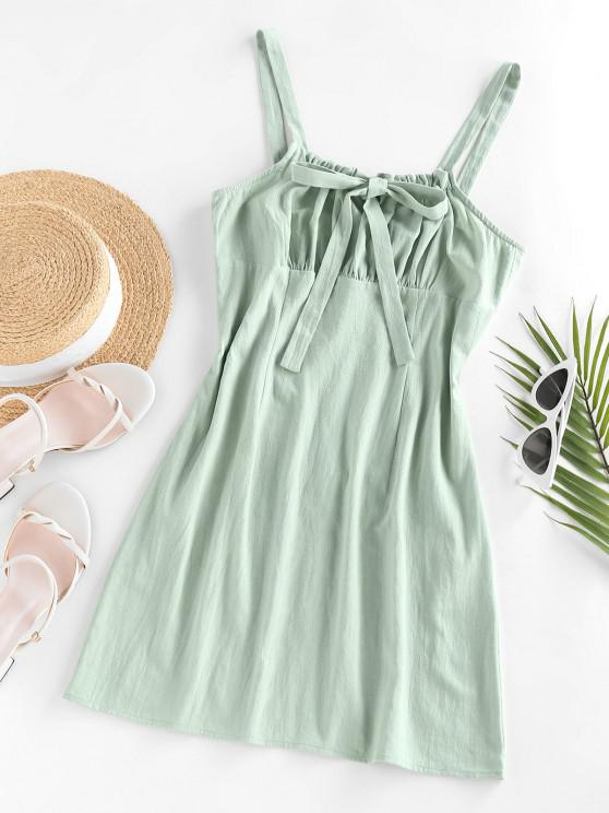 trendy ZAFUL Ruched Bowknot Tie Cami Sundress - LIGHT GREEN L