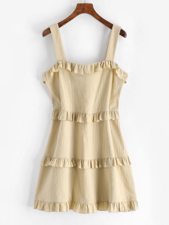 fashion ZAFUL Tiered Ruffles Trapeze Dress - LIGHT COFFEE XL