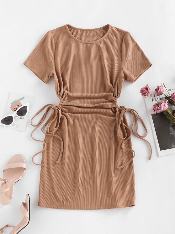 buy ZAFUL Cinched Cutout Mini Bodycon Dress - COFFEE S
